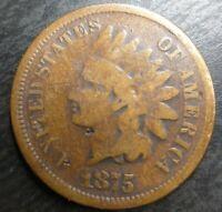1875 Indian Head Penny Cent Very Good VG Details Minor Damage IHP Semi Key