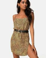 MOTEL ROCKS Datista Slip Dress in Mini Tiger Brown XS  (mr66)