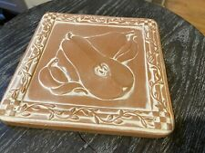 Mexican Clay Pottery Hand Made Tile Art Mexico Rustic Raised Fruit - Pear
