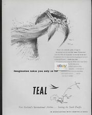 TEAL AIR NEW ZEALAND 1958 IMAGINATION TAKE YOU SO FAR TAHITIAN GRASS SKIRT AD