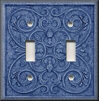 Metal Light Switch Plate Cover - Home Decor - French Pattern Image Blue Decor