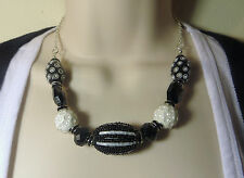 """Brilliant Black and White Chunky Gaudy Loud Showy Necklace 18"""" in Gift Box!"""