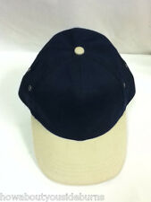 Beige and navy blue color baseball cap hat hats sports recreation #469