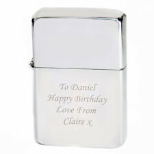 Personalised Engraved Silver Finish Windproof Lighter- 18th 21st Birthday Gift