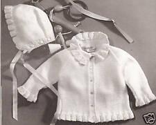 Vintage Knitting PATTERN to make Baby Ruffle Edged Sweater Jacket Hat Bonnet Ruf