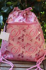 """15"""" Pink Dance Ballet Sling Bag Cinch Sack Backpack School Travel Yoga NEW"""