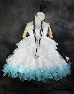 a-290 VOCALOID MIKU Cosplay Kostüm Set Cocktail Party Abend-Kleid blau weiß