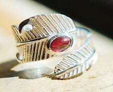 Silberring offen 55 - 63 Handarbeit Granat Silber Breit Ring Feder Floral Blatt