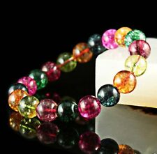"10mm Multicolor Rainbow Tourmaline Round Bead Stretchy Bangle 7.5"" J73"
