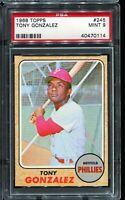 1968 Topps Baseball #245 TONY GONZALEZ Philadelphia Phillies PSA 9 MINT