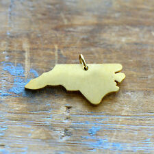 North Carolina State Charm - Brushed 24k Gold Plated Stainless Steel Pendant