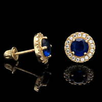 1CT Halo Blue Sapphire Created Diamond Earrings 14k Yellow Gold Screwback Studs