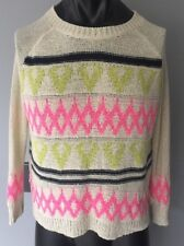 CAMILLA TREE Ivory Pink Green Aztec Tribal Sweater S/M