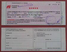 Firenze: Ferrovie Italiane dello Stato - Bonus per biglietti 1992