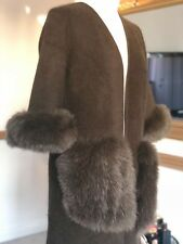 Cashmere Coat Real Fox Fur Pockets and Cuffs Mink Cashmere Cardigan Jumper