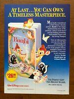 1989 Walt Disney Bambi VHS Video Movie Vintage Print Ad/Poster Retro 80s Décor