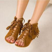 Gladiator Women Peep Toe Ankle Sandal Boots Fringe Suede Lace Up Tassel Shoes US