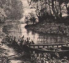1870 rare gravure eau-forte A.Taiée Île Saint-Denis barque Seine Saint-Denis