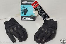 BRAND NEW Women's ICON Pursuit Stealth Black Leather Motorcycle Gloves Sz Small