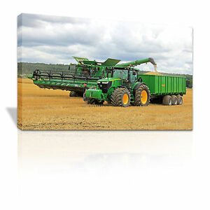 Tractor collecting harvest canvas print - C047