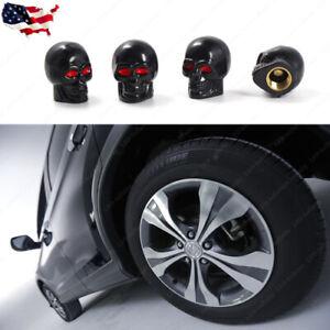 4x Tire Valve Cap Cover Tyre Air Dust Stem Car Motorcycle Bike Rock Black Skull