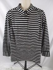 Lane Bryant Women Shirt Black Striped Sz 22/24 Career 1/2 Button Pull Over CB59i