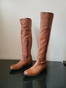 New/Defects Frye Women's Melissa Cognac Western Over the Knee Boots