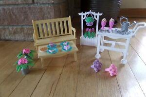 Vintage 1996 Barbie Flower Garden Playset Mattel Pretty Folding House Gardening