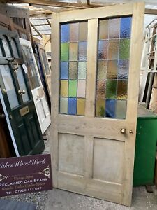 Victorian ANTIQUE STRIPPED PINE FRONT ENTRANCE DOOR (Coloured Leaded Glass) XL