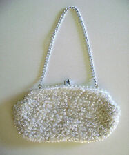 """Vintage """"White Hand Bag"""" (Clutch) [Sequins & Beads] {Hand Made} from Hong Kong"""