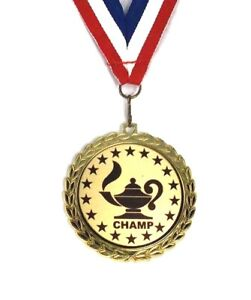 Lamp of Knowledge Medal- 2.5 Inch- Bright Gold Finish-Trivia- Free Neck Ribbon