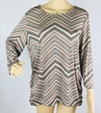 Chico's Travelers Blouse Top Shirt 2 Pink Black White Chevron Ruched Sparkle USA