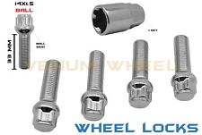 14x1.5 Mercedes Benz C63 W204 Ball Seat Extended Chrome Wheel Locks 33 MM + Key