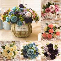 DIY Artificial Silk Fake Flower Rose Leaf Peony Wedding Bouquet Party Home Decor