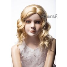 Blonde Child Wigs body wave synthetic for little girl full Hair wig PU skin top
