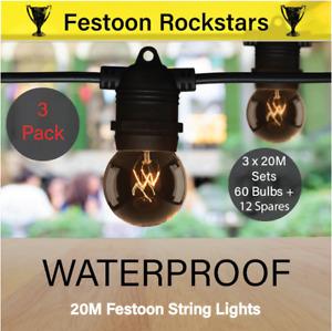 3 Pack 20m Black Festoon String Light Kits | Waterproof Outdoor | Wedding, Party