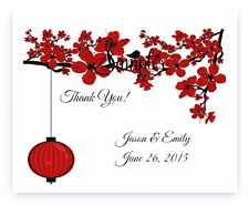 100 Personalized Red Cherry Blossom Lantern Bridal Wedding Thank You Cards