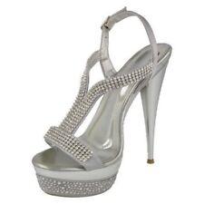Zapatos de tacón de mujer plataformas de color principal plata Talla 39