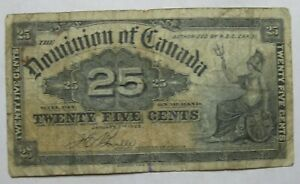 1900 DOMINION OF CANADA TWENTY FIVE CENT BILL!!!  FREE SHIPPING!!!