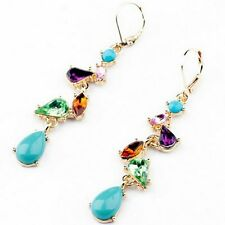 Water Gem For Alloy Elegant Long Jewelry Multicolor Crystal Earrings Fashion