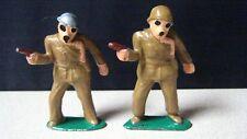 Vintage Barclay Manoil Toy Dimestore 2 Soldier Infantrymen w/Gas Masks & Pistols