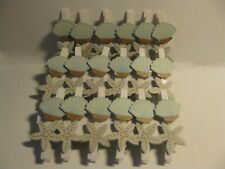 36 wooden seaside pegs - shell and starfish designs - wedding favors party craft