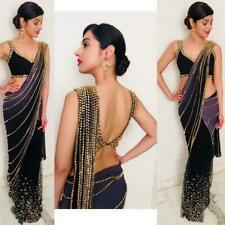 Sari Indian Bollywood Fancy Designer Wedding Saree Lace Border Party With Blouse