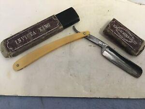 Vintage cut throat razor Invicta King E. M. Dickerson
