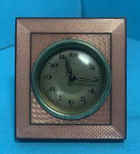 Antique Guilloche Pink Enamel Travel Clock