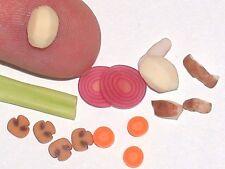 15pc. Miniature dollhouse tiny Raw Meat Stew Halloween potatoes deli food loose