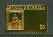Antigua 2018 Barbados 1 Shilling Gold Foil Stamp On Stamp Mint Never Hinged