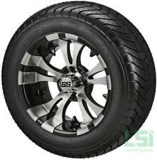 Set of 4 - 215/50-12 Tire on a 12x7 Blk/Machined Vampire Wheel w/FREE Freight