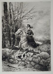 Antique American W.H. Shelton Etching After the Hounds c1886 Dog Horse Rider