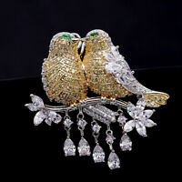 Cute Unique 5A Cubic Zircon Micro Paved Lovebirds Bird Brooches Pin 02352